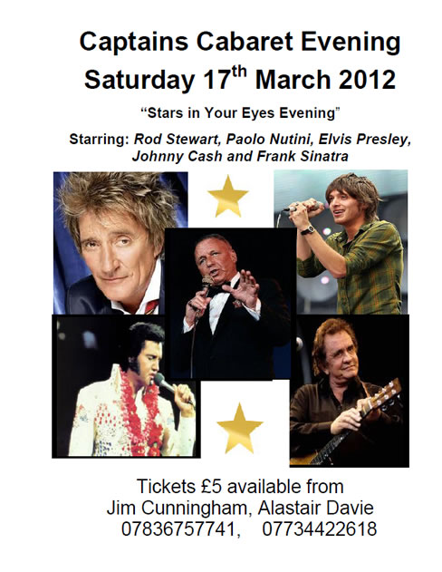 Captains Cabaret Evening - Saturday 17th March